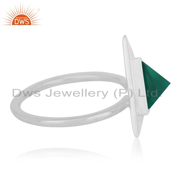 Suppliers Green Onyx Bezel Set Gemstone 92.5 Silver Ring Jewelry Manufacturer