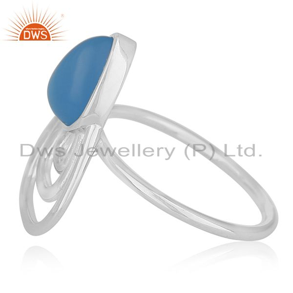 Suppliers Blue Chalcedony Gemstone 925 Silver Ring Wholesale Supplier India