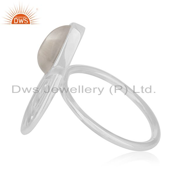 Suppliers Crystal Quartz White Rhodium Plated 925 Silver Customized Ring Jewelry