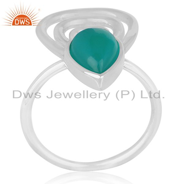 Suppliers Green Onyx Gemstone 925 Sterling Silver Private Label Ring Wholesale