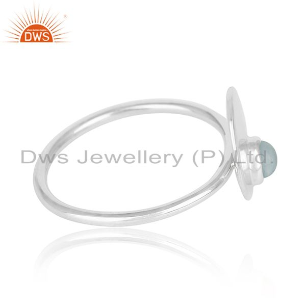 Suppliers Simple Design 925 Sterling Silver Chalcedony Gemstone Ring Wholesale