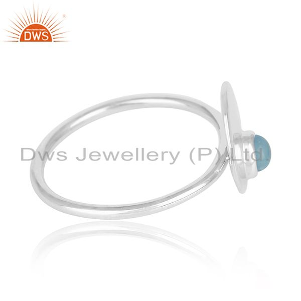 Suppliers 92.5 Silver White Rhodium Plated Blue Chalcedony Gemstone Simple Ring