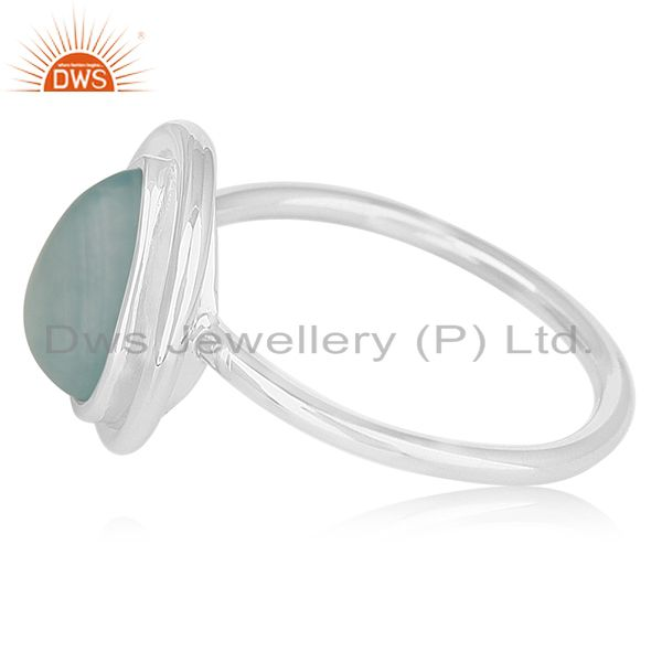 Suppliers Aqua Chalcedony Gemstone 925 Silver Private Label Ring Manufacturer