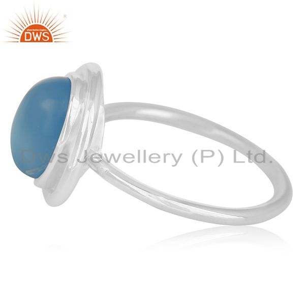 Suppliers White Rhodium Plated 925 Silver Blue Gemstone Ring Wholesale India