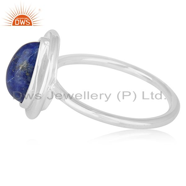 Suppliers Lapis Lazuli Gemstone Sterling Silver Designer Ring Jewelry Wholesale