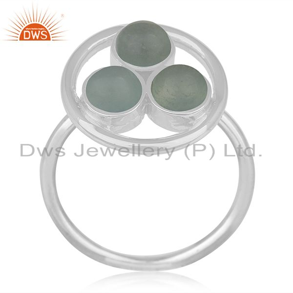 Suppliers Aqua Chalcedony Gemstone 925 Sterling Silver Round Ring Manufacturer India