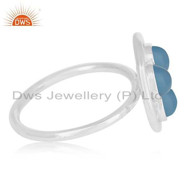 Suppliers Blue Chalcedony Gemstone 925 Sterling Silver Round Circle Ring Manufacturer