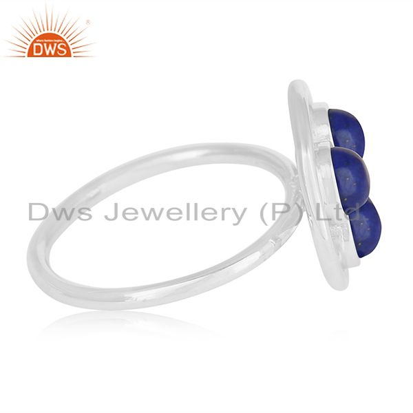 Suppliers Lapis Lazuli Gemstone 925 Sterling Silver Round Circle Ring Manufacturer India