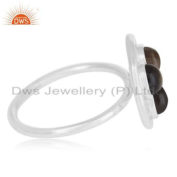 Suppliers Handmade Sterling 925 Silver Smoky Quartz Gemstone Ring Manufacturer India