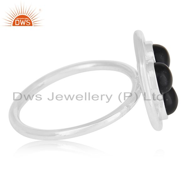 Suppliers Black Onyx Gemstone Handmade Sterling Silver Circle Cocktail Ring Manufacturer