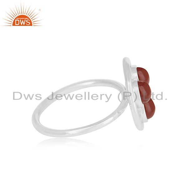 Suppliers Red Onyx Gemstone 925 Sterling Silver Cocktail Ring Manufacturer of Jewellery