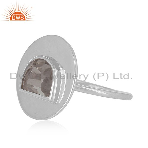 Suppliers Plain 925 Sterling Silver Crystal Quartz Ring Manufacturer of Jewelry