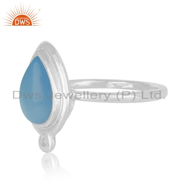 Suppliers Handmade Sterling Silver Blue Chalcedony Gemstone Ring Jewelry