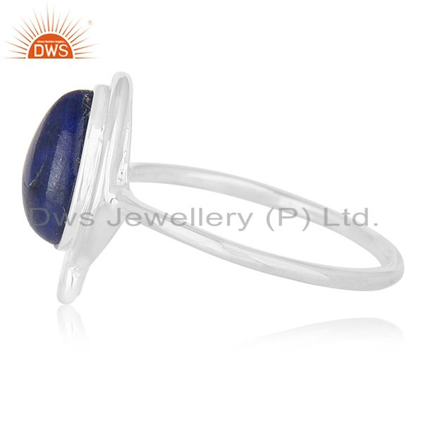 Suppliers Natural Lapis Lazuli Gemstone 925 Silver Ring Jewellery Wholesale