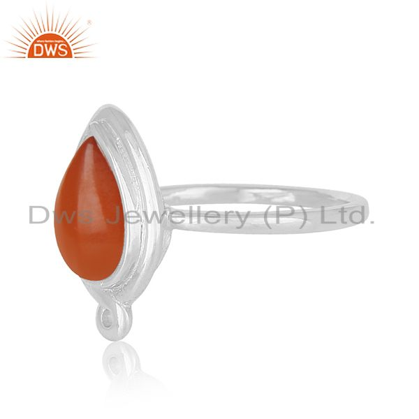 Suppliers Red Chalcedony Gemstone 925 Silver Ring Private Label Jewellery