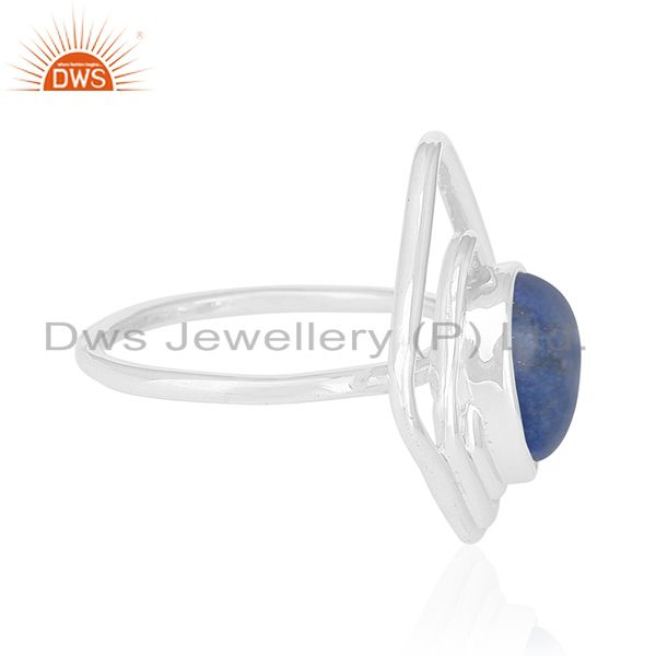 Suppliers Lapis Lazuli Gemstone 925 Silver White Rhodium Plated Ring Supplier