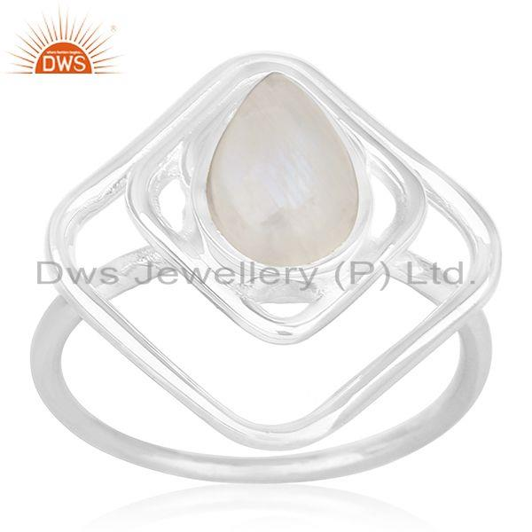 Suppliers Designer 925 Sterling Silver Rainbow Moonstone Ring For Women Jewelry