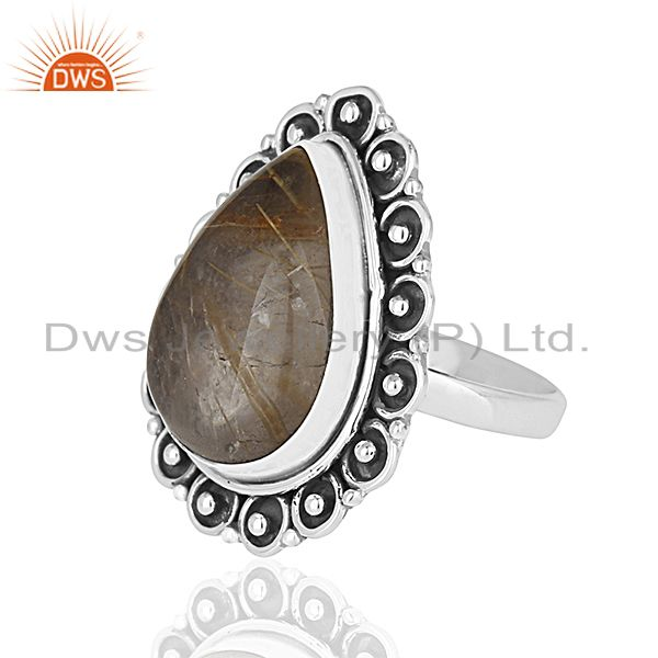 Suppliers Oxidized 925 Silver Rutile Quartz Gemstone Cocktail Ring Manufacturer