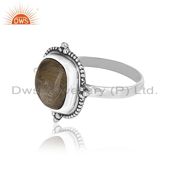 Suppliers Golden Rutile Gemstone Oxidized 925 Silver Ring Manufacturer for Designers India