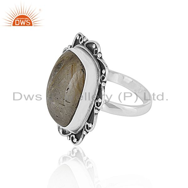 Suppliers Black Oxidized Sterling Silver Rutile Gemstone Ring Wholesale Silver Jewelry