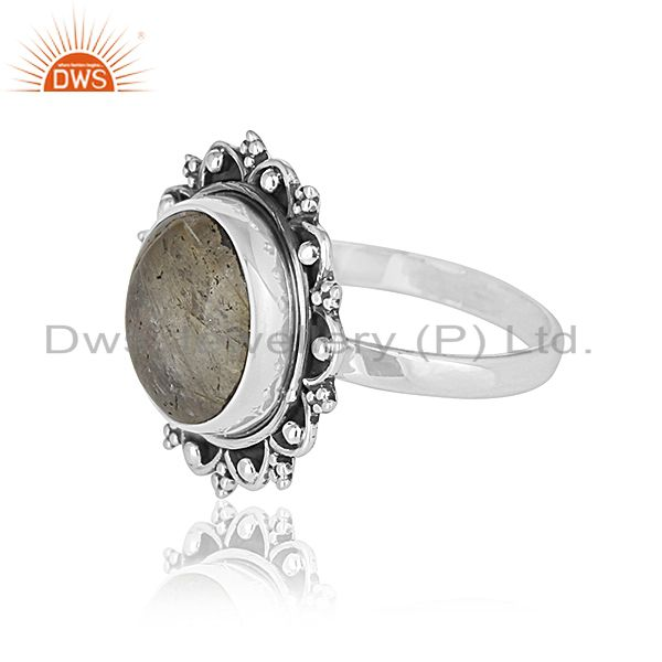 Suppliers Handcrafted 925 Sterling Silver Golden Gemstone Custom Ring Jewelry Manufacturer