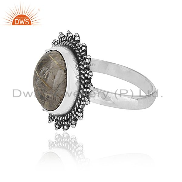 Suppliers Genuine Antique Silver Golden Rutile Gemstone Private Label Ring Manufacturer