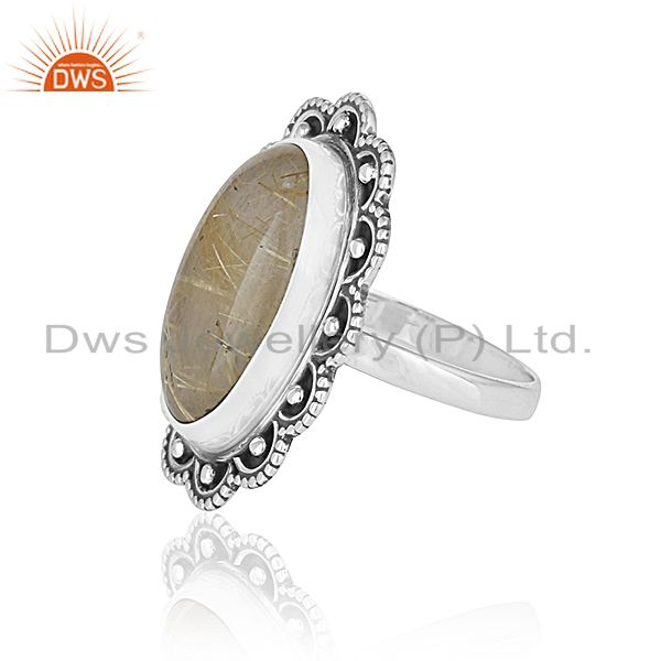 Suppliers Oxidized Silver Golden Gemstone Private Label Ring Jewelry Manufacturer India