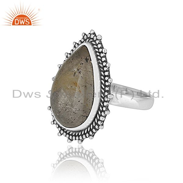 Suppliers Golden Rutile 925 Silver Oxidized Custom Ring Jewelry Manufacturer from India