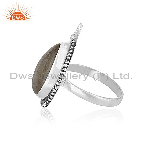 Suppliers Golden Rutile Gemstone 925 Silver Oxidized Ring Manufacturer