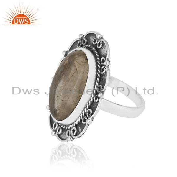 Suppliers Oxidized 92.5 Silver Golden Rutile Gemstone Ring Manufacturer for Designers
