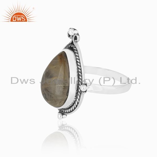 Suppliers Genuine Golden Rutile Gemstone Sterling Silver Custom Ring Jewelry Manufacturer