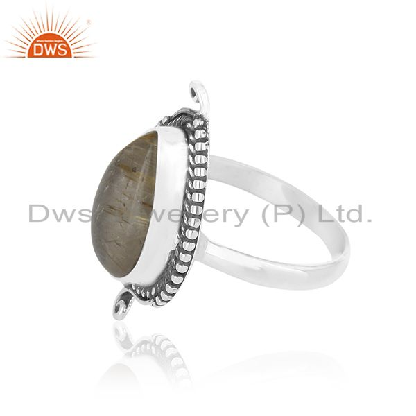 Suppliers Natural Golden Rutile Gemstone Sterling Silver Private Label Ring Manufacturer