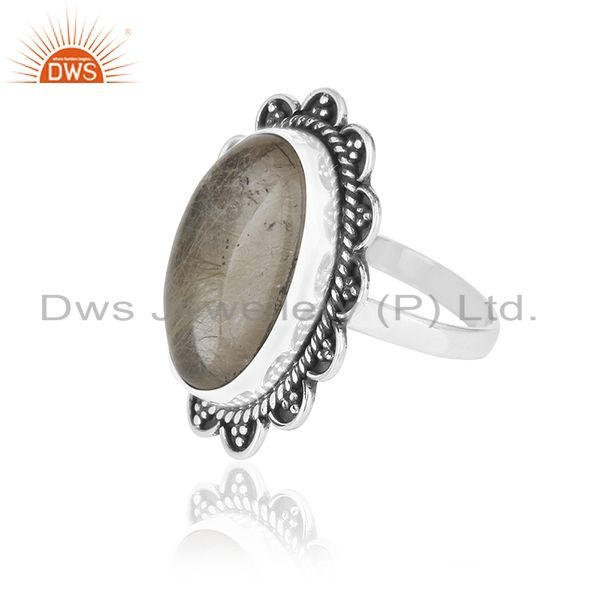 Suppliers Natural Golden Rutile Quartz Gemstone 925 Silver Oxidized Ring Manufacturers