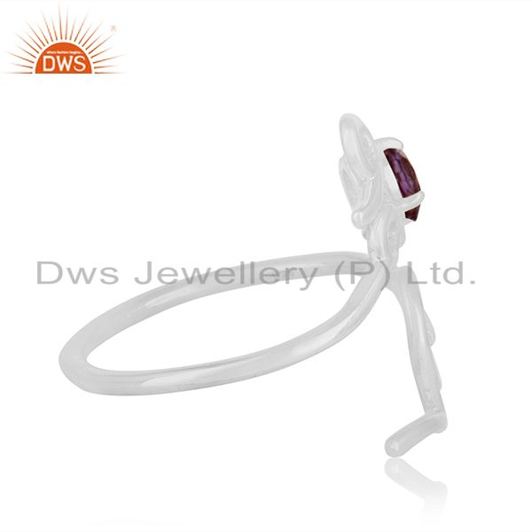 Suppliers Custom Sterling Silver Love Initial Amethyst Gemstone Ring Manufacturer India