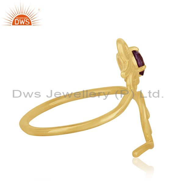 Suppliers Initial Love Sterling Silver Gold Plated Amethyst Gemstone Christmas Gift Ring