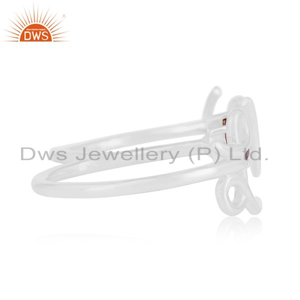 Suppliers Amethyst Gemstone 925 Silver Love Initial Double Finger Ring Wholesale