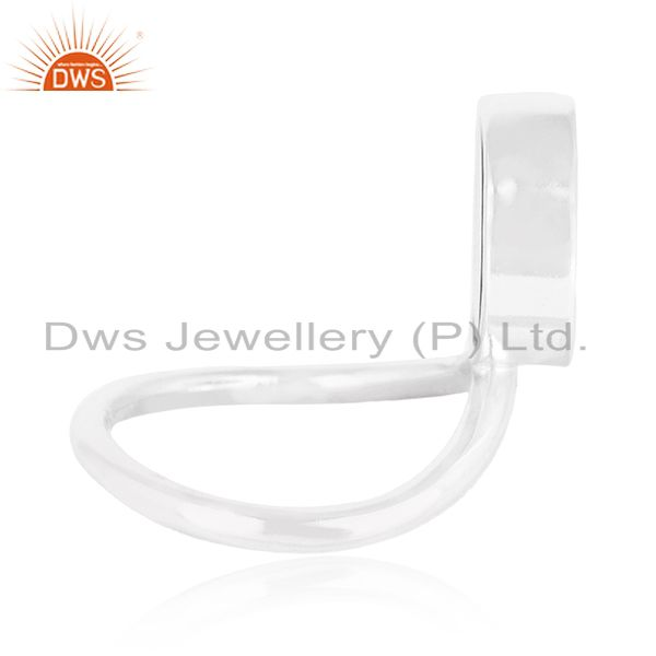 Suppliers Custom Peace Sign Sterling Fine Silver Onyx Gemstone Ring Manufacturer