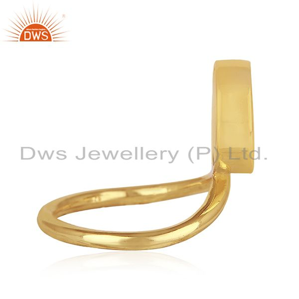 Suppliers Peace Sign Gold Plated Sterling Silver Black Onyx Gemstone Charm Ring Wholesale