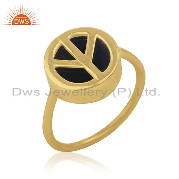 Suppliers 14k Gold Plated Customized Peace Sign 925 Silver Ring Manufacturer India