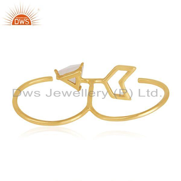 Suppliers Arrow Design 925 Silver Gold Plated Moonstone Double Finger Ring Supplier