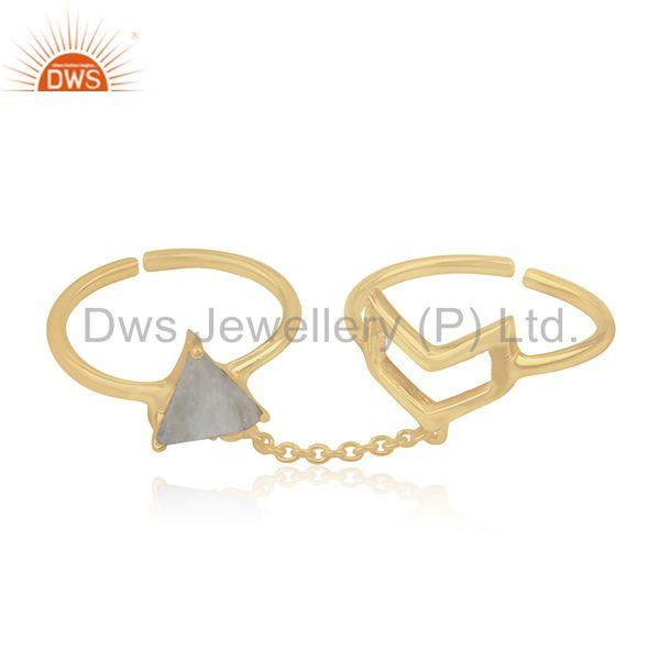 Suppliers Arrow Shape Double Finger Sterling Silver Chain Ring Manufacturers