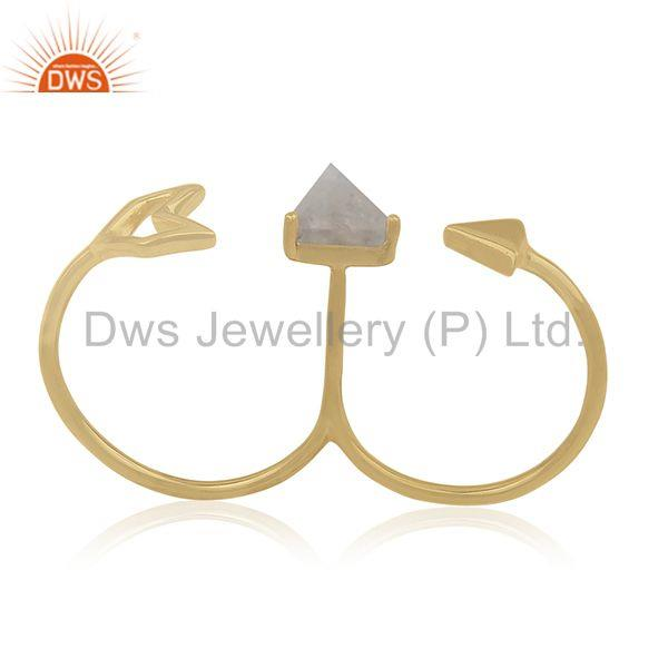 Suppliers Gold Plated 925 Silver Gemstone Arrow Shape Double Finger Ring Jewelry Supplier