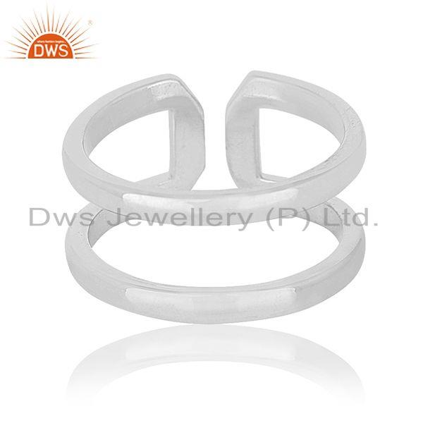 Suppliers Simple Design 925 Sterling Silver White Rhodium Plated Openable Ring Wholesale