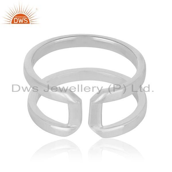 Suppliers White Rhodium Plated Sterling 925 Silver Openable Unisex Ring Jewelry Wholesale