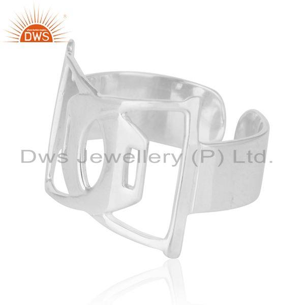 Suppliers White Rhodium Plated Sterling 92.5 Plain Silver Openable Band Ring Wholesale