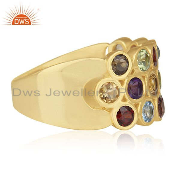 Suppliers Multi Natural Gemstone Gold Plated Sterling Cocktail Ring Wholesale
