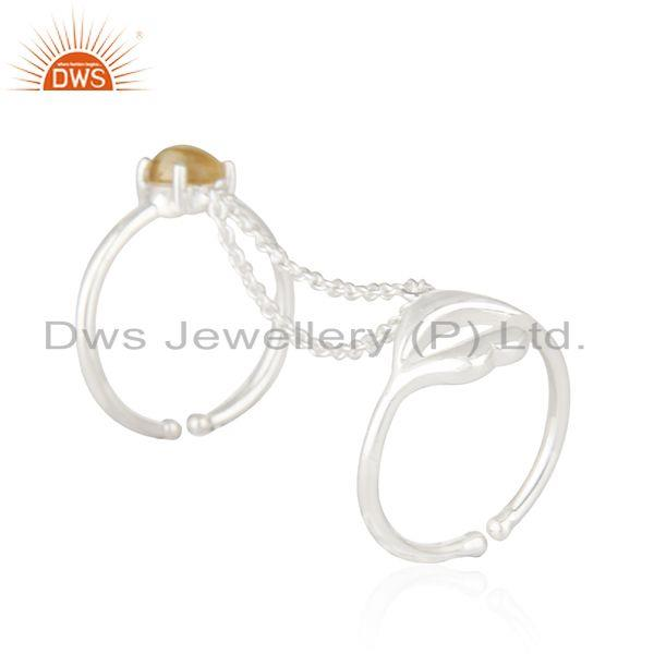 Suppliers 925 Sterling Fine Silver Citrine Gemstone Double Finger Lip Design Ring Supplier