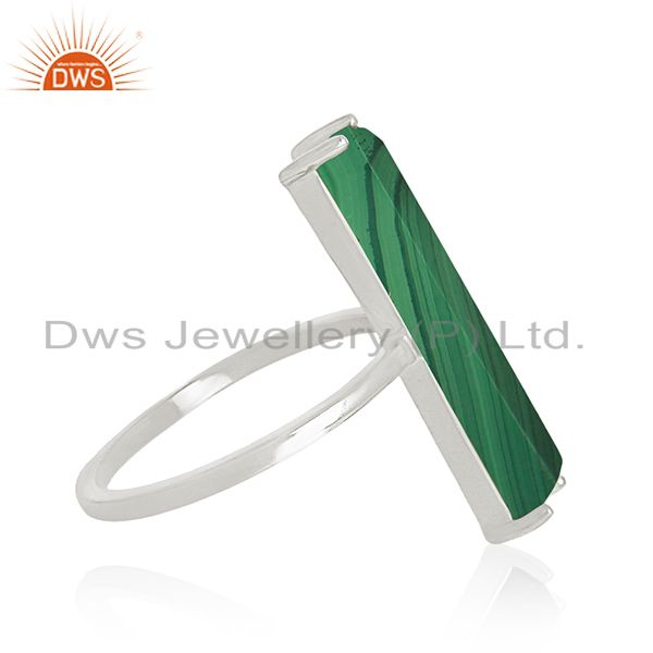 Suppliers Natural Malachite Gemstone Fine 925 Sterling Silver Ring Manufacturer of Jewerly