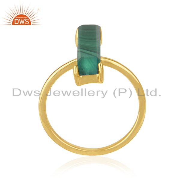 Suppliers Malachite Gemstone 925 Silver Gold Plated Ring Manufacturer of Jewelry
