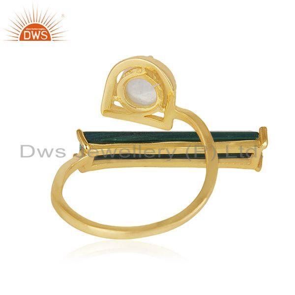 Suppliers Malachite and Rainbow Moonstone Gold Plated 925 Silver Ring Manufacturer